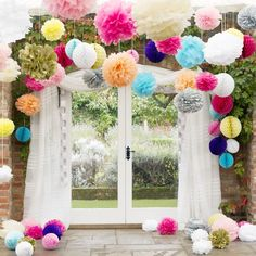 Fluffy Tissue Paper Pom Poms & Honeycomb balls Hanging decorations mixed sizes