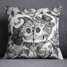 Pencil Sketch Rose Kissing Man and Wife Sugar Skull Duvet Bedding Sets