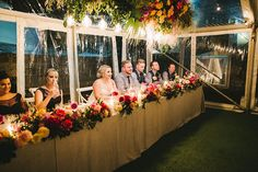 Vibrant Colorful Palette For This May Wedding ~ love the abundance of flowers on and above the head table; Fox & Rabbit