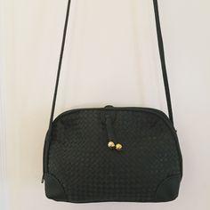 "Green Basket Weave Cross Body Green Cross Body Bag  ·         Basket Weave detail ·         Gld hardware ·         Zipper closure ·         Zipper pocket inside ·         Measures 10""x2.5""x6.5"" ·         Strap 22.5"" Bags Crossbody Bags"