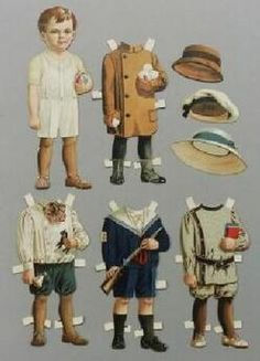 Paper Doll; Raphael Tuck & Sons, Bonnie Series #65, Billy, Outfits & Hats, 9 inch.