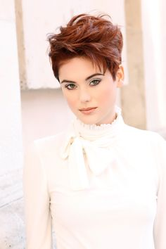 Hairstyle of the Month: A Wild Red Pixie in 4 Steps Funky Short Hair, Girl Short Hair, Short Hair Cuts, Funky Hairstyles, Short Hairstyles For Women, Chaotischer Pixie, Haircut And Color, Hair Brained, Great Hair