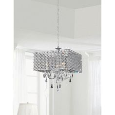 Chrome/ Crystal 4-light Square Chandelier | Overstock™ Shopping - Great Deals on Chandeliers & Pendants