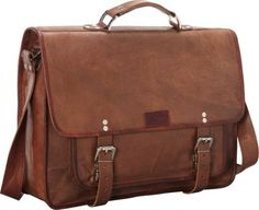 Sharo Leather Bags Wide Laptop Messenger and Brief Bag Brown - via eBags.com!