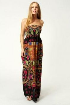 Harriet Aztec Multi Print Bandeau Maxi Dress by Boohoo