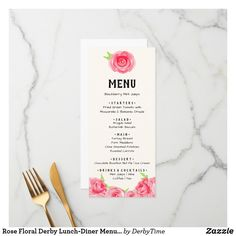 Shop Watercolor Roses Floral Derby Party Lunch Dinner Menu created by DerbyTime. Wedding Rehearsal, Wedding Reception, Diner Menu, Wedding Lunch, Shower Rose, Chocolate Bourbon, Wedding Menu Cards, Derby Party, Watercolor Rose