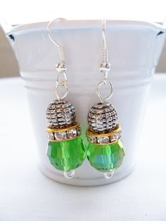 Green crystal and metal earrings   by SparkleandComfort