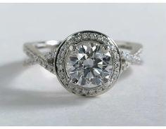 1.79 Carat Diamond Monique Lhuillier Twist Halo Engagement Ring | Blue Nile Engagement Rings