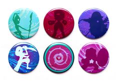 Steven Universe Buttons // Steven Universe Magnets // Set of Six Crystal Gem Magnets or Buttons // Garnet, Amethyst and Pearl... And Steven!