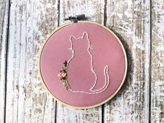 Cat embroidery Floral hoop art Custom needlepoint Hand embroidery Silhouette…