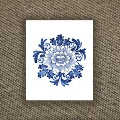 Temporary 'Delfts Blauw' floral tattoo by Tattoorary on Etsy