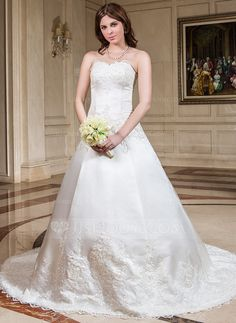 Ball-Gown Sweetheart Chapel Train Satin Wedding Dress With Lace Beading (002011531) - JJsHouse