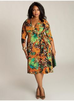 Solange Wrap Dress. IGIGI by Yuliya Raquel. www.igigi.com  This one keeps growing on me...I've never been one to shy away from prints, but the cheetah print, bright green, and bold orange in combination seem like a bit much.  Yet the more I look at it, the more I'm growing immune to its muchness...