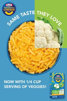 Who says your kids won't eat vegetables? With the same great cheesy taste that kids have always loved, they'll never know that they're eating ¼ cup of cauliflower. And, like all Kraft Macaroni & Cheese, KMC Cauliflower contains no artificial flavors, pres Baby Food Recipes, Keto Recipes, Cooking Recipes, Healthy Recipes, Dinner Recipes, Toddler Meals, Kids Meals, Family Meals, Cauliflower Pasta