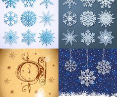Snowflakes templates vector