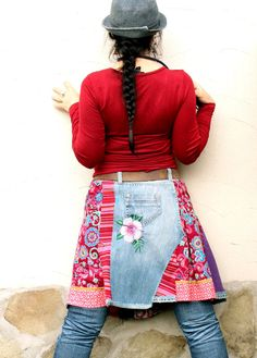 colorful crazy recycled denim patchwork skirt by jamfashion