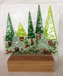 Fused Glass Christmas Picture Panel