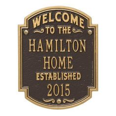Personalized Whitehall Products Heritage Welcome/Anniversary Plaque Bronze/Gold