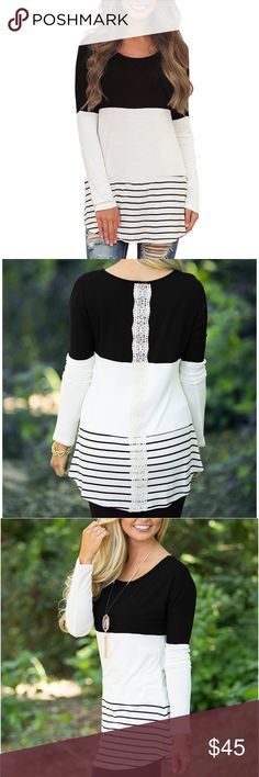 Back Lace Tunic Top Long Sleeve T-Shirts -Material: Polyester + Spandex -Tunic shirt with soft material and a striped hem -Casual O-Neck Long Sleeve, Back Lace, Striped Tops Tunics
