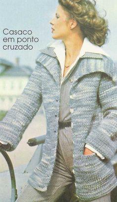 Receita casaco feminino de tricô em ponto cruzado Passo a passo casaco  feminino de tricô em f65b57eea4374