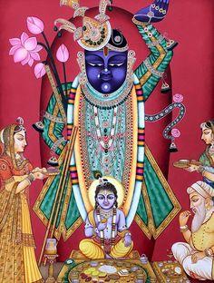 Shrinath Ji with Lord Krishna Miniature Painting on Paper Radha Krishna Images, Krishna Photos, Krishna Art, Hare Krishna, Tanjore Painting, Krishna Painting, Pichwai Paintings, Indian Paintings, Indian Gods