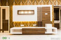 Residence project @ senthil nagar chennai by adorn Modern Tv Unit Designs, Wall Unit Designs, Modern Tv Wall Units, Living Room Tv Unit Designs, Tv Unit Furniture Design, Tv Unit Interior Design, Tv Cupboard Design, Tv Cabinet Design Modern, Lcd Wall Design