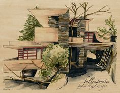 Fallingwater (Frank Lloyd Wright) sketch on wood PRINT by Linsey Gray by frankie Falling Water Frank Lloyd Wright, Frank Lloyd Wright Homes, Falling Water Architecture, Art And Architecture, University Architecture, Amazing Architecture, Falling Water House, Falling Waters, House Sketch