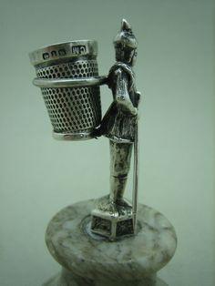 Antique German Silver  .Thimble Holder on Marble Base; Circa 1860