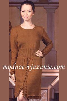 Вязание спицами для женщин. Платье