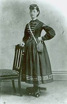 An unidentified American woman during the American Civil War, presumed to be a Vivandière.