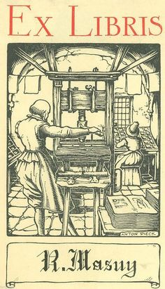 Anton Pieck (1895-1987), Dutch / bookplate for R. Masut  ... depicts printer operating colonial era wooden hand printing press, woman in background at worktable