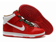 the latest bbf44 d4b6e Chaussures Nike Dunk High Rouge Blanc Vert nike11879 - €62.97