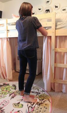 Ikea loft bed hack ~ it could be done ... with boy things, obviously :)  Affordable option for this loft bed phase he's in!