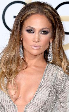 Jennifer Lopez from Get the Look: 2015 Golden Globes Hair & Makeup  Makeup…