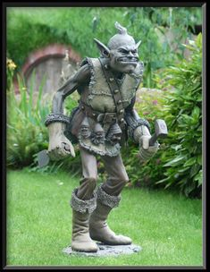 A gnome hunter in the Shire.  Bronze via lost-wax method, by David Goode.