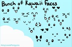 Kawaii Faces Ref by AmyLovesPenguins on deviantART Kawaii Faces, Kawaii Cute, Envelope Art, Cute Images, Learn To Draw, Doodles, Deviantart, Learning, Drawings