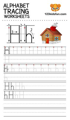 Alphabet Tracing Worksheets A-Z free Printable for Preschooler and Kindergartener. This Alphabet Tracing is a great activity for kids to practice letter recognition and handwriting skills. Printable letter H tracing worksheet. Free Printable Alphabet Worksheets, Alphabet Tracing Worksheets, Phonics Worksheets, Alphabet Writing Practice, Handwriting Practice Worksheets, Cursive Alphabet, Letters For Kids, Alphabet For Kids, Preschool Alphabet
