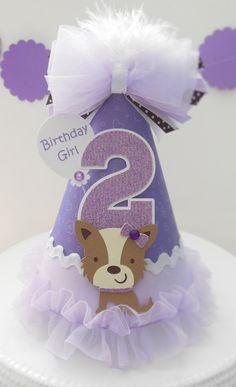 Lil' bastante púrpura cachorro - sombrero de fiesta de cumpleaños - personalizado