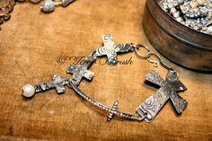 Custom Order Cross Sterling Bracelet made to by TerriBrushDesigns, $85.00