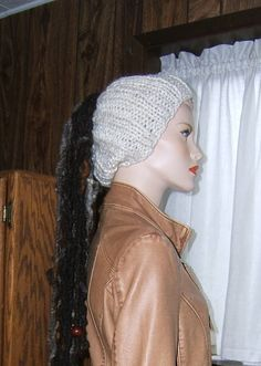 Knitted hat white off white ivory handmade hand knit rib stitch open crown dreds dredlock knit hat by topdraweryarns on Etsy