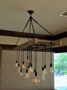 Ladder Pot Rack Converted to Chandelier by Client – Lighting Ideas Hanging Ladder, Old Ladder, Pot Rack Hanging, Ladder Decor, Rustic Lighting, Industrial Lighting, Lighting Ideas, Country Kitchen Lighting, Edison Lighting