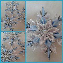 Dekorácie - vianočná vločka kanzashi - 7428232_