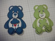 care bears punch art using su punches and other punches Stampin' Up! Paper Punch Art, Punch Art Cards, Paper Art, Paper Crafts, Diy Crafts, Kids Cards, Baby Cards, Kids Birthday Cards, Cat Birthday