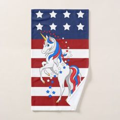 American Flag Patriotic Red White Blue Unicorn Bath Towel Set - independence day 4th of july holiday usa patriot fourth of july