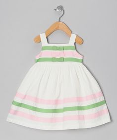 Ivory Stripe Bow Dress - Infant, Toddler & Girls by Donita.