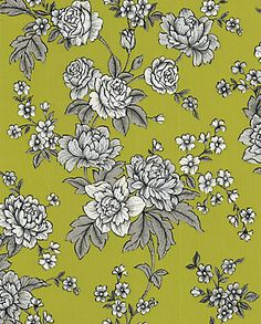 Hand-drawn English roses with metallic accents ideal for a feature wall