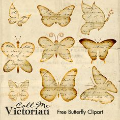 Free Butterfly Images - Distressed Vintage Handwriting