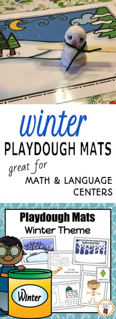 Your preschool and kindergarten students will love creating with these fun and interactive winter time playdough mats.  Add them to your language center, math center or fine motor center.