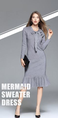 #VIPme Grey Bow Collar Stripes Mermaid Sweater Dress ❤ Get more outfit ideas and style inspiration from fashion designers at VIPme.com.