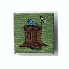 Blue Bird on Tree Stump Painting Miniature Original Tiny Wall Art by Karen Watkins kmwatkins on Etsy Woodland Artwork